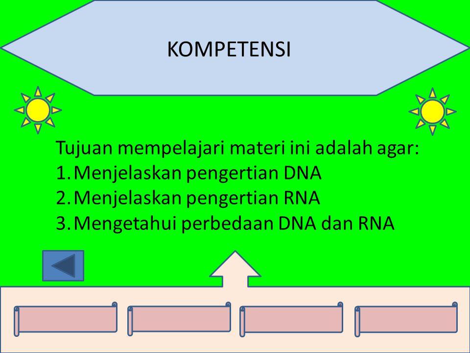 KOMPETENSI Tujuan mempelajari materi ini adalah agar: 1.Menjelaskan pengertian DNA 2.Menjelaskan pengertian RNA 3.Mengetahui perbedaan DNA dan RNA
