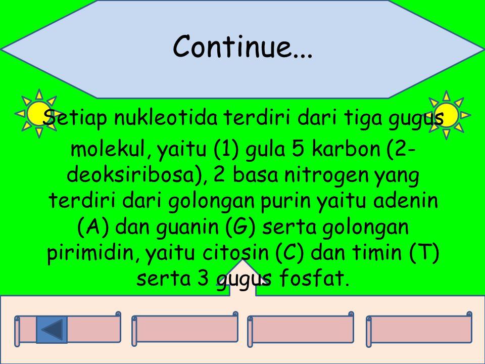 Continue... Setiap nukleotida terdiri dari tiga gugus molekul, yaitu (1) gula 5 karbon (2- deoksiribosa), 2 basa nitrogen yang terdiri dari golongan p