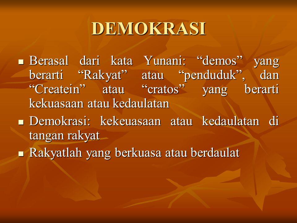 """DEMOKRASI Berasal dari kata Yunani: """"demos"""" yang berarti """"Rakyat"""" atau """"penduduk"""", dan """"Createin"""" atau """"cratos"""" yang berarti kekuasaan atau kedaulatan"""