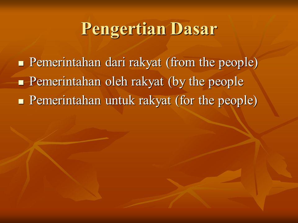 Pengertian Dasar Pemerintahan dari rakyat (from the people) Pemerintahan dari rakyat (from the people) Pemerintahan oleh rakyat (by the people Pemerin