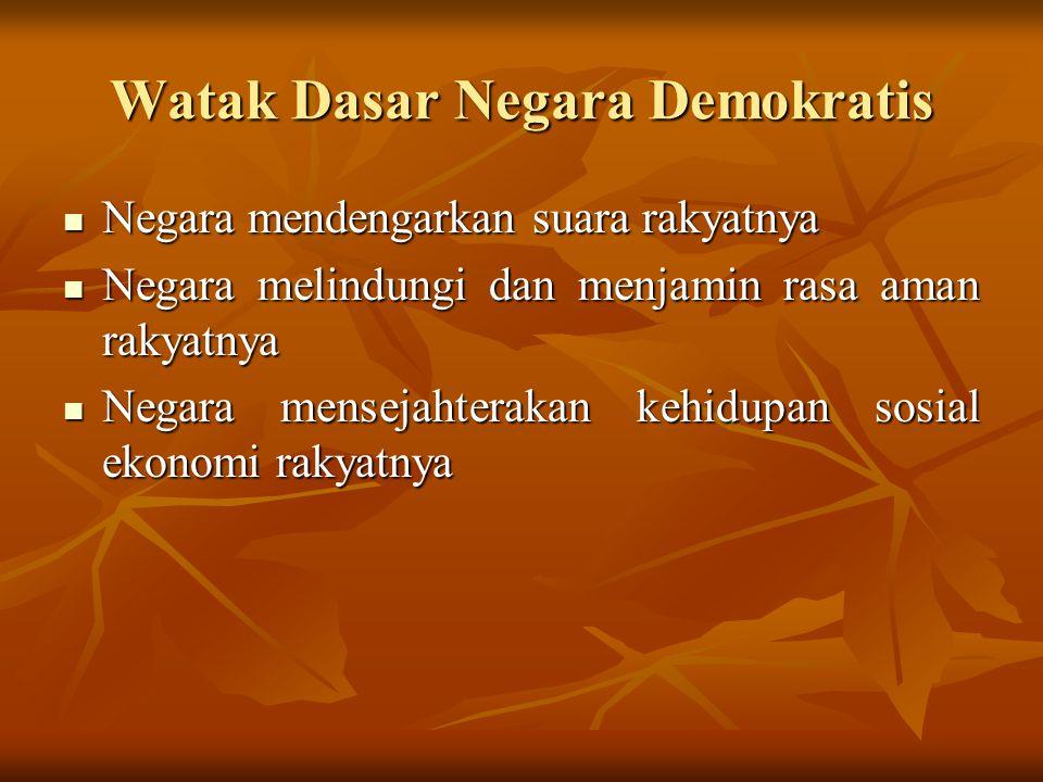 Watak Dasar Negara Demokratis Negara mendengarkan suara rakyatnya Negara mendengarkan suara rakyatnya Negara melindungi dan menjamin rasa aman rakyatn