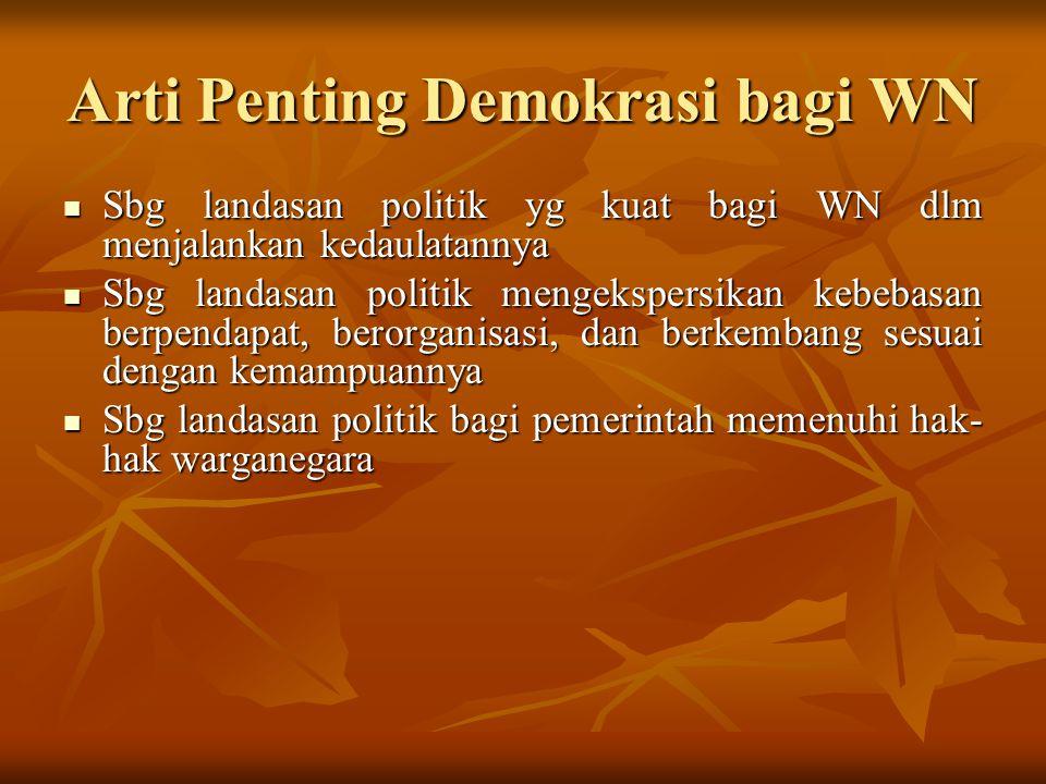 Arti Penting Demokrasi bagi WN Sbg landasan politik yg kuat bagi WN dlm menjalankan kedaulatannya Sbg landasan politik yg kuat bagi WN dlm menjalankan