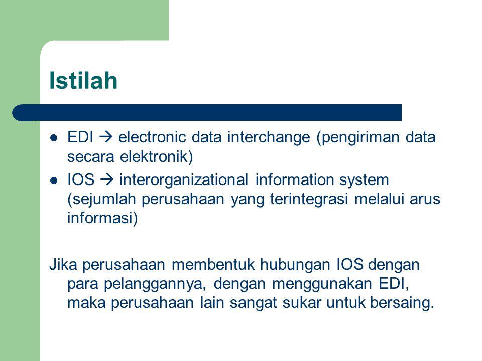 Istilah EDI  electronic data interchange (pengiriman data secara elektronik) IOS  interorganizational information system (sejumlah perusahaan yang terintegrasi melalui arus informasi) Jika perusahaan membentuk hubungan IOS dengan para pelanggannya, dengan menggunakan EDI, maka perusahaan lain sangat sukar untuk bersaing.