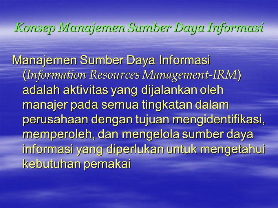 Konsep Manajemen Sumber Daya Informasi Manajemen Sumber Daya Informasi ( Information Resources Management-IRM ) adalah aktivitas yang dijalankan oleh manajer pada semua tingkatan dalam perusahaan dengan tujuan mengidentifikasi, memperoleh, dan mengelola sumber daya informasi yang diperlukan untuk mengetahui kebutuhan pemakai