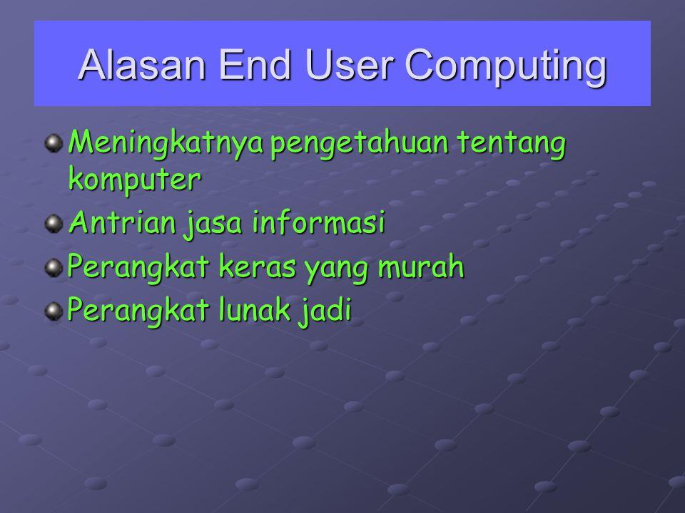 Alasan End User Computing Meningkatnya pengetahuan tentang komputer Antrian jasa informasi Perangkat keras yang murah Perangkat lunak jadi