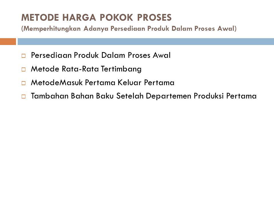 METODE HARGA POKOK PROSES (Memperhitungkan Adanya Persediaan Produk Dalam Proses Awal)  Persediaan Produk Dalam Proses Awal  Metode Rata-Rata Tertim