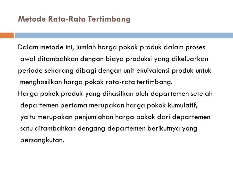 Metode Rata-Rata Tertimbang Dalam metode ini, jumlah harga pokok produk dalam proses awal ditambahkan dengan biaya produksi yang dikeluarkan periode s