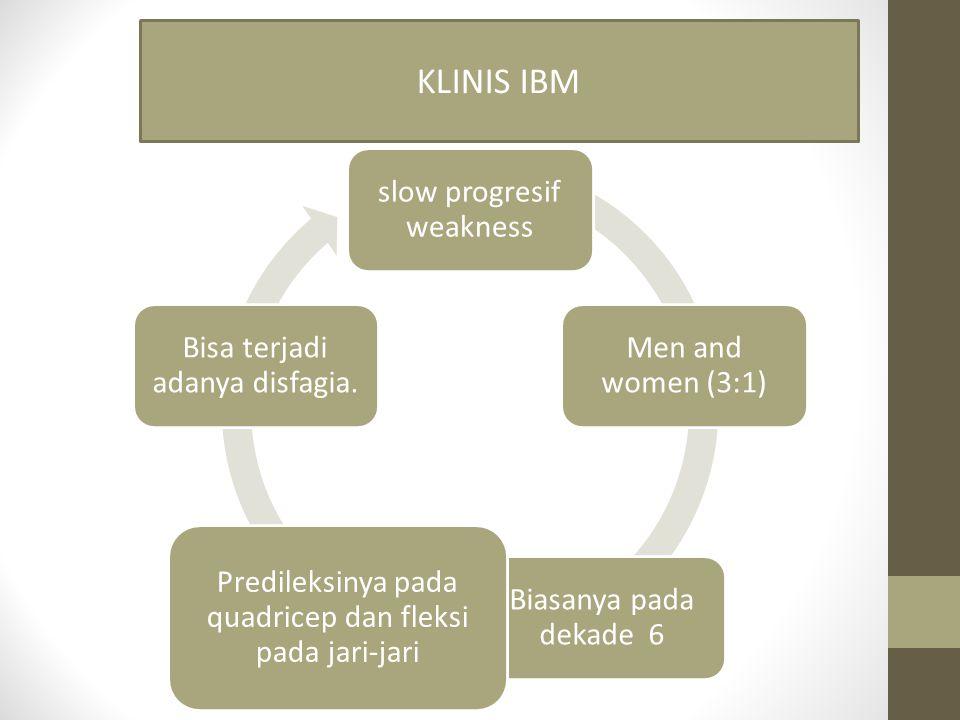 slow progresif weakness Men and women (3:1) Biasanya pada dekade 6 Predileksinya pada quadricep dan fleksi pada jari-jari Bisa terjadi adanya disfagia.