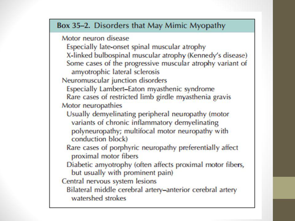 Pendekatan EMG Pada pasien dengan myopathy pemeriksaan dengan needle EMG sangat dianjurkan.