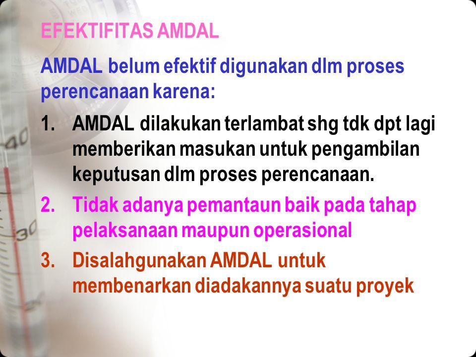 PERANAN AMDAL DALAM PERENCANAAN PROYEK Kegunaan AMDAL bagi berbagai pihak 5.Kegunaan lainnya Kegunaan dlm analisis dan kemajuan IPTEK Kegunaan dalam p
