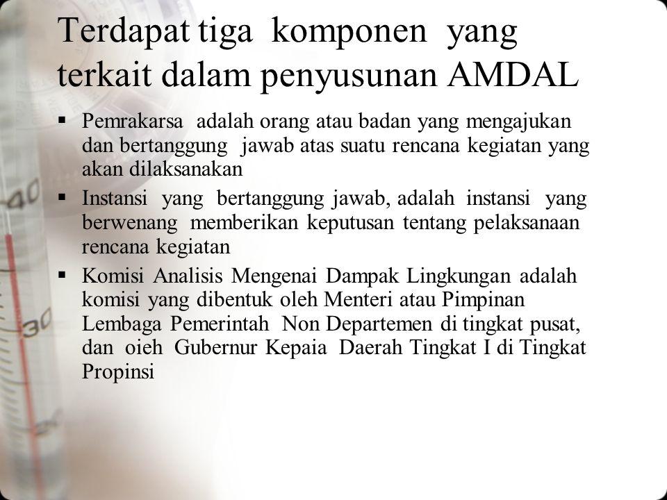 AMDAL adalah keseluruhan proses yang meliputi penyusunan, berturut-turut : 1.Kerangka Acuan bagi penyusunan Analisis Dampak Lingkungan (KA), 2.Analisi