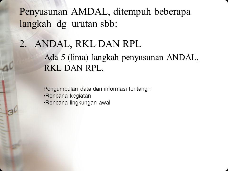 Penyusunan AMDAL, ditempuh beberapa langkah dg urutan sbb: 1.Kerangka acuan ANDAL KA ANDAL ini merupakan ruang lingkup studi ANDAL yang disepakati ber