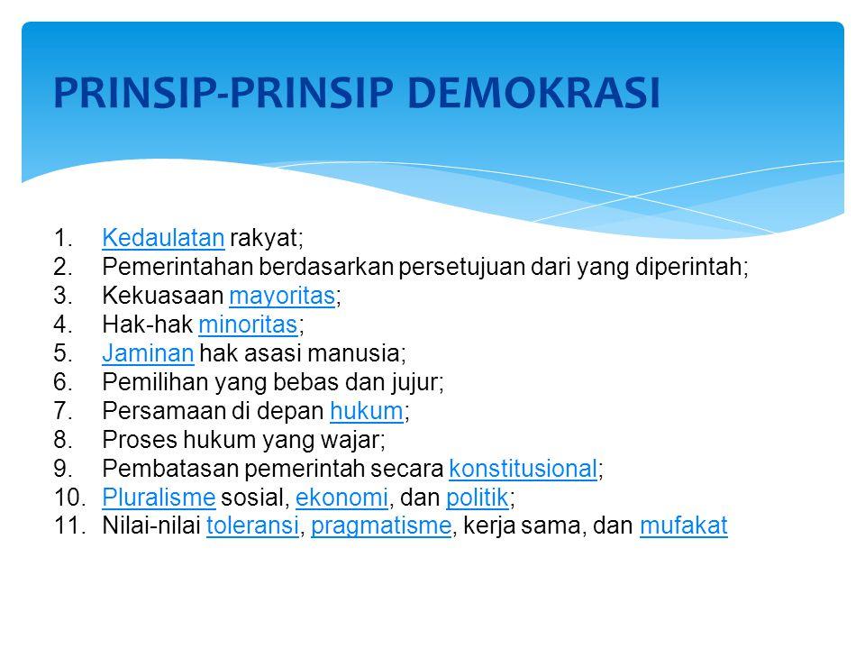 PRINSIP-PRINSIP DEMOKRASI 1.Kedaulatan rakyat;Kedaulatan 2.Pemerintahan berdasarkan persetujuan dari yang diperintah; 3.Kekuasaan mayoritas;mayoritas