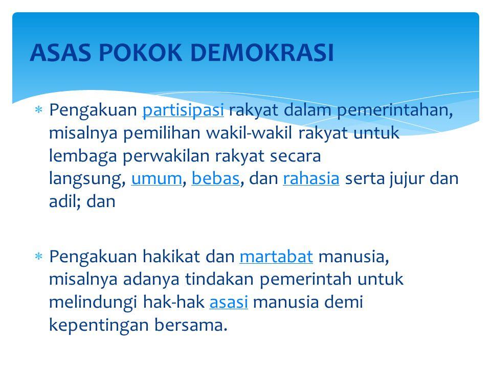  Adanya keterlibatan warga negara (rakyat) dalam pengambilan keputusan politik, baik langsung maupun tidak langsung (perwakilan).politik  Adanya pengakuan, penghargaan, dan perlindungan terhadap hak-hak asasi rakyat (warga negara).