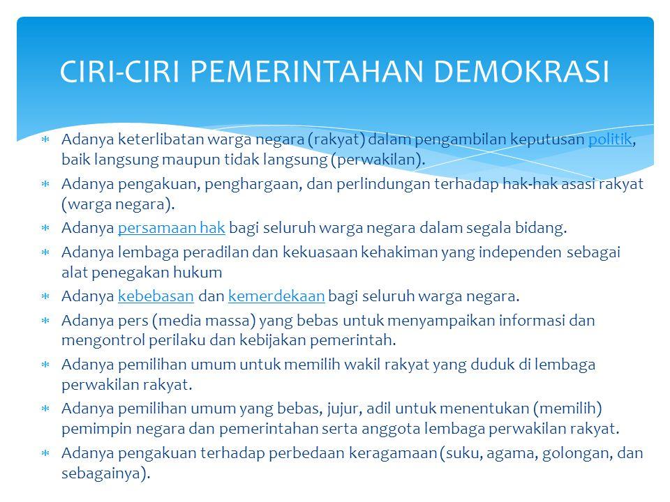  Adanya keterlibatan warga negara (rakyat) dalam pengambilan keputusan politik, baik langsung maupun tidak langsung (perwakilan).politik  Adanya pen