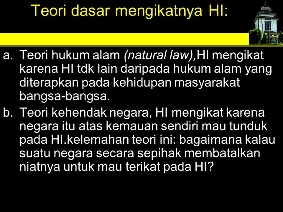 Teori dasar mengikatnya HI: a.Teori hukum alam (natural law),HI mengikat karena HI tdk lain daripada hukum alam yang diterapkan pada kehidupan masyara