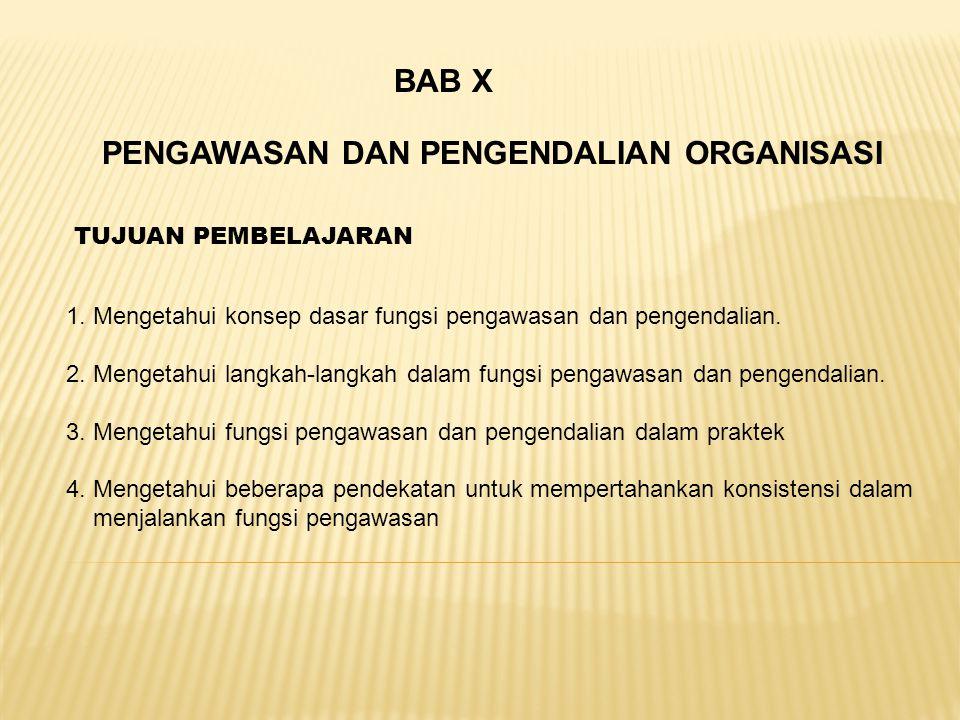 PENGAWASAN DAN PENGENDALIAN ORGANISASI BAB X 1. Mengetahui konsep dasar fungsi pengawasan dan pengendalian. 2. Mengetahui langkah-langkah dalam fungsi