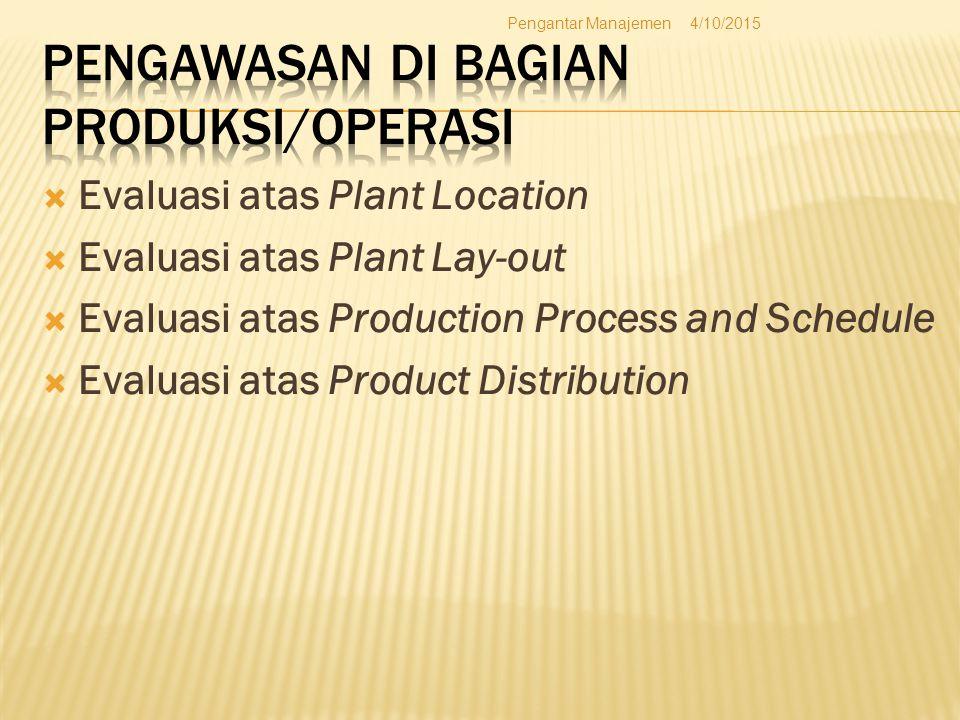  Evaluasi atas Plant Location  Evaluasi atas Plant Lay-out  Evaluasi atas Production Process and Schedule  Evaluasi atas Product Distribution 4/10