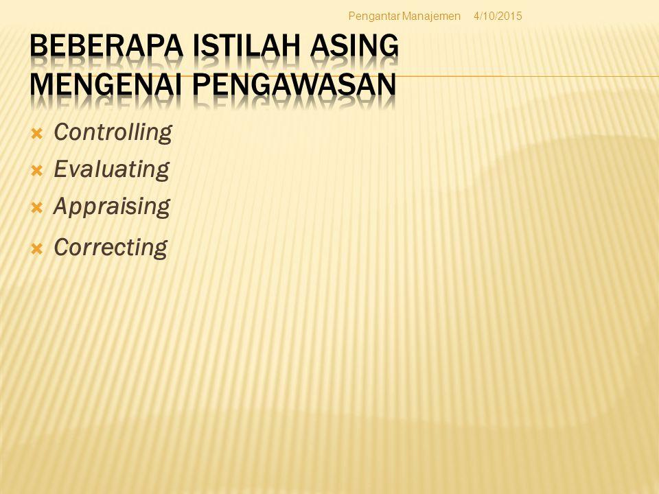  Controlling  Evaluating  Appraising  Correcting 4/10/2015Pengantar Manajemen