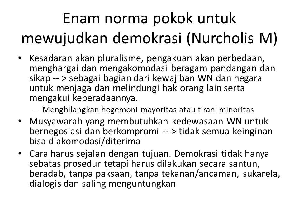 Enam norma pokok untuk mewujudkan demokrasi (Nurcholis M) Kesadaran akan pluralisme, pengakuan akan perbedaan, menghargai dan mengakomodasi beragam pa