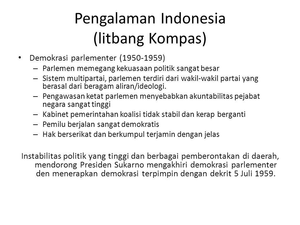 Pengalaman Indonesia (litbang Kompas) Demokrasi parlementer (1950-1959) – Parlemen memegang kekuasaan politik sangat besar – Sistem multipartai, parle