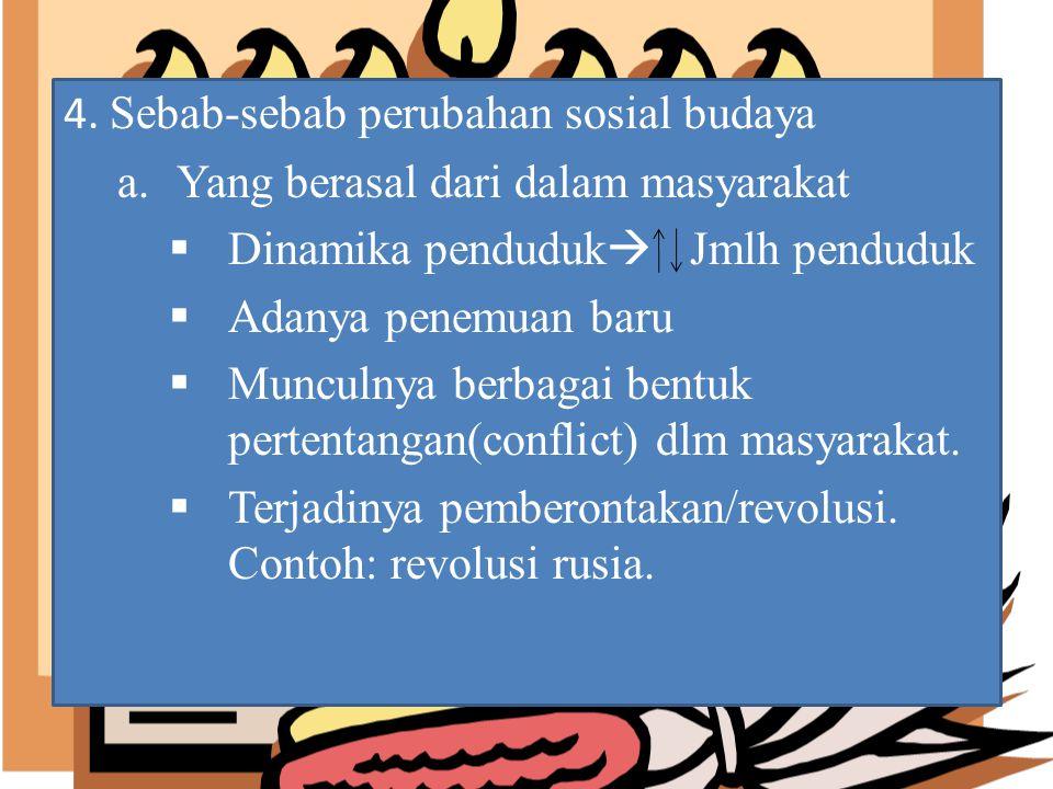 4. Sebab-sebab perubahan sosial budaya a.Yang berasal dari dalam masyarakat  Dinamika penduduk  Jmlh penduduk  Adanya penemuan baru  Munculnya ber