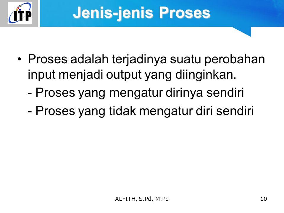 ALFITH, S.Pd, M.Pd10 Jenis-jenis Proses Proses adalah terjadinya suatu perobahan input menjadi output yang diinginkan. - Proses yang mengatur dirinya