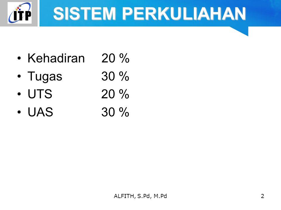ALFITH, S.Pd, M.Pd2 SISTEM PERKULIAHAN Kehadiran 20 % Tugas 30 % UTS 20 % UAS30 %