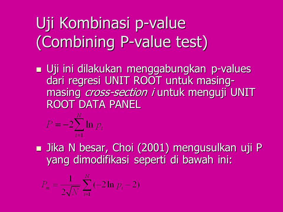 Uji Kombinasi p-value (Combining P-value test) Uji ini dilakukan menggabungkan p-values dari regresi UNIT ROOT untuk masing- masing cross-section i un