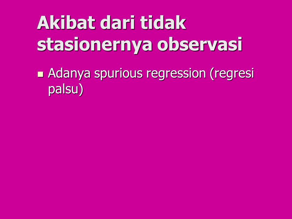 Akibat dari tidak stasionernya observasi Adanya spurious regression (regresi palsu) Adanya spurious regression (regresi palsu)