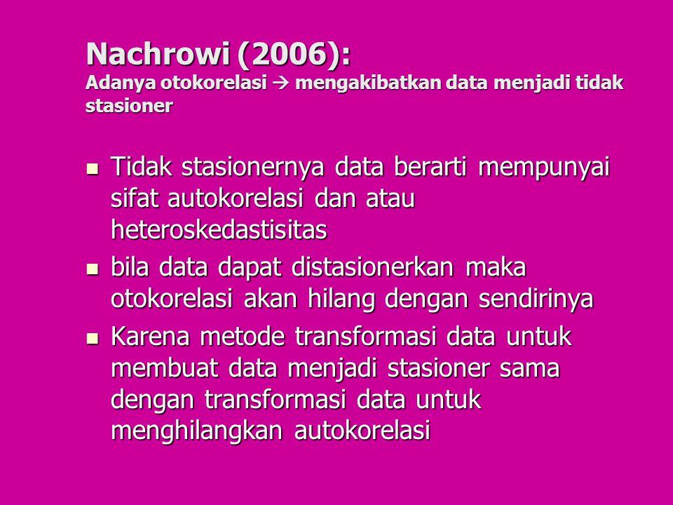 Nachrowi (2006): Adanya otokorelasi  mengakibatkan data menjadi tidak stasioner Tidak stasionernya data berarti mempunyai sifat autokorelasi dan atau