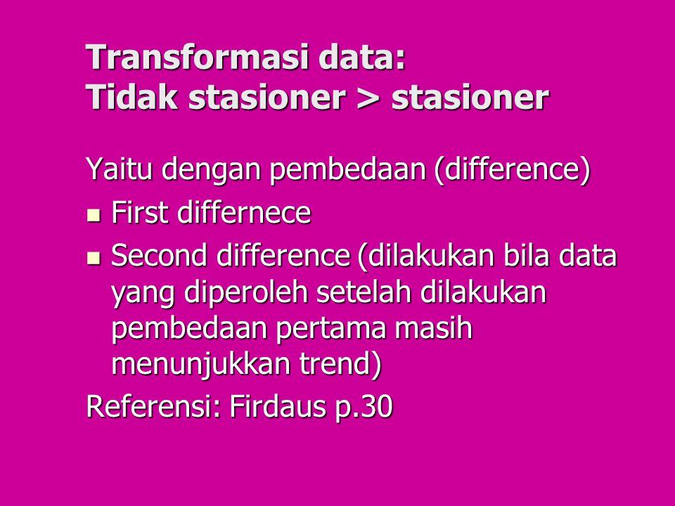 Transformasi data: Tidak stasioner > stasioner Yaitu dengan pembedaan (difference) First differnece First differnece Second difference (dilakukan bila