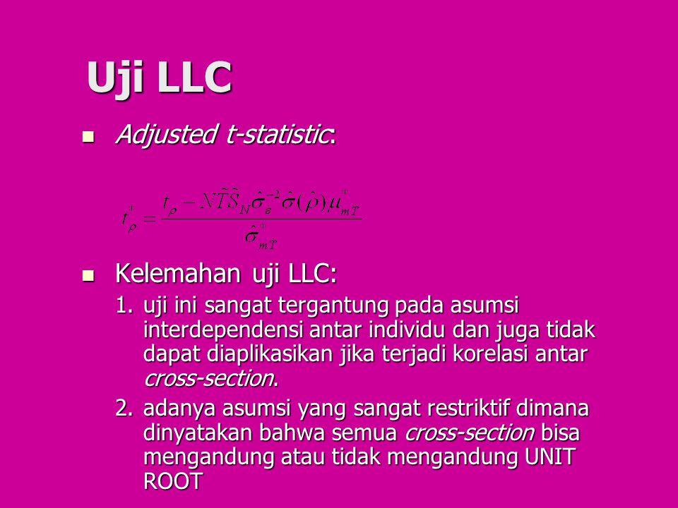 Uji LLC Adjusted t-statistic: Adjusted t-statistic: Kelemahan uji LLC: Kelemahan uji LLC: 1.uji ini sangat tergantung pada asumsi interdependensi anta
