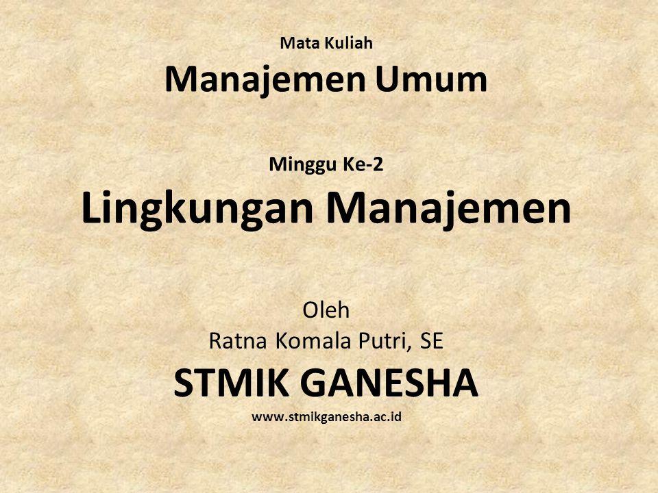 Mata Kuliah Manajemen Umum Minggu Ke-2 Lingkungan Manajemen Oleh Ratna Komala Putri, SE STMIK GANESHA www.stmikganesha.ac.id