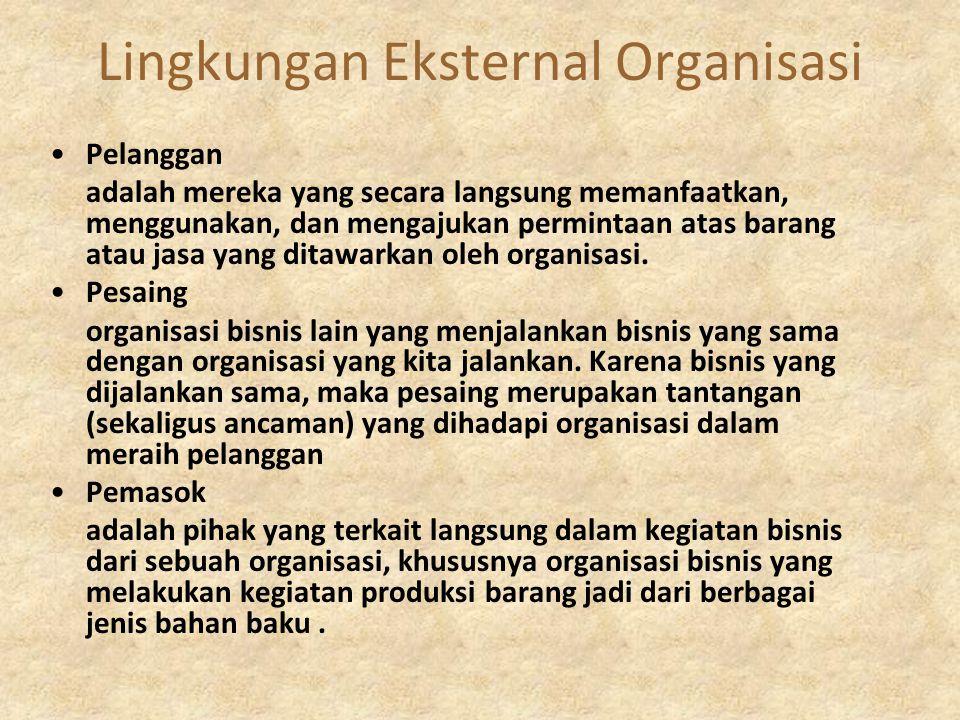 Lingkungan Eksternal Organisasi Pelanggan adalah mereka yang secara langsung memanfaatkan, menggunakan, dan mengajukan permintaan atas barang atau jas