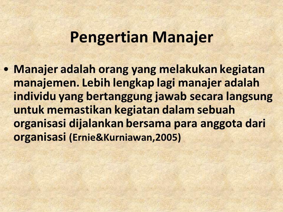 Pengertian Manajer Manajer adalah orang yang melakukan kegiatan manajemen. Lebih lengkap lagi manajer adalah individu yang bertanggung jawab secara la