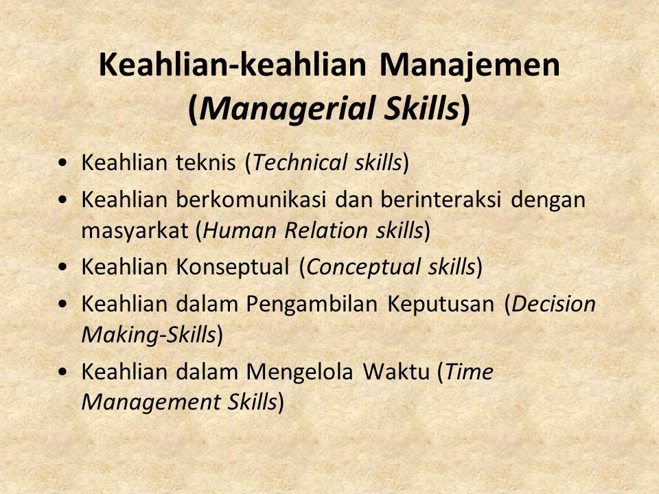 Keahlian-keahlian Manajemen (Managerial Skills) Keahlian teknis (Technical skills) Keahlian berkomunikasi dan berinteraksi dengan masyarkat (Human Rel
