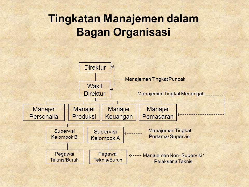 Direktur Wakil Direktur Manajer Personalia Manajer Produksi Manajer Keuangan Manajer Pemasaran Supervisi Kelompok B Supervisi Kelompok A Pegawai Tekni