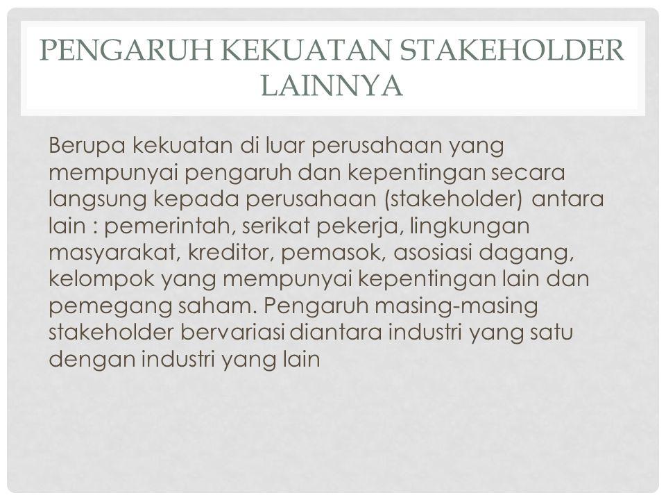 PENGARUH KEKUATAN STAKEHOLDER LAINNYA Berupa kekuatan di luar perusahaan yang mempunyai pengaruh dan kepentingan secara langsung kepada perusahaan (st