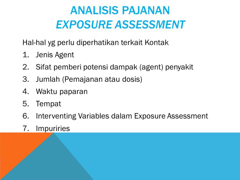 ANALISIS PAJANAN EXPOSURE ASSESSMENT Hal-hal yg perlu diperhatikan terkait Kontak 1.Jenis Agent 2.Sifat pemberi potensi dampak (agent) penyakit 3.Jumlah (Pemajanan atau dosis) 4.Waktu paparan 5.Tempat 6.Interventing Variables dalam Exposure Assessment 7.Impuriries