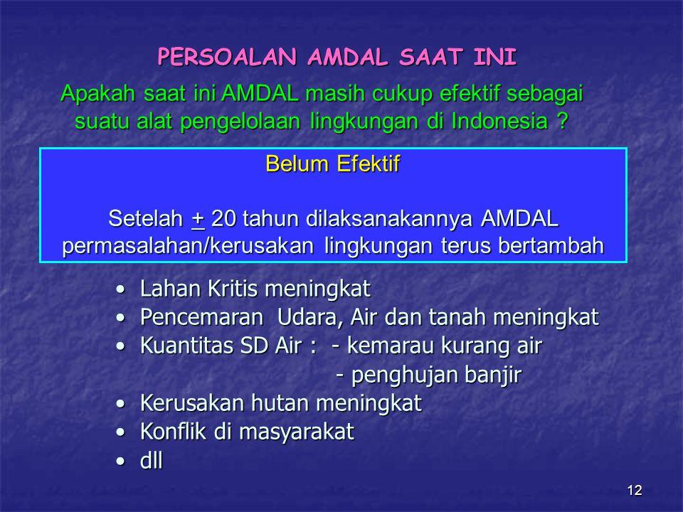 12 PERSOALAN AMDAL SAAT INI Apakah saat ini AMDAL masih cukup efektif sebagai suatu alat pengelolaan lingkungan di Indonesia .