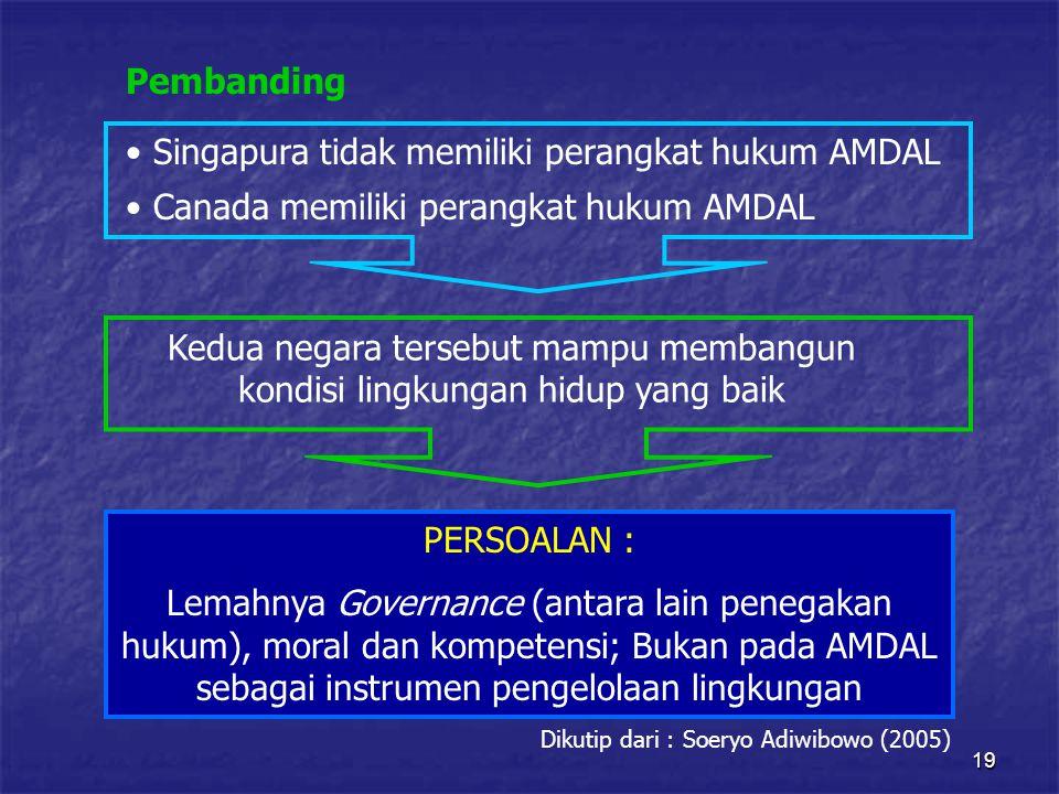 19 Pembanding Singapura tidak memiliki perangkat hukum AMDAL Canada memiliki perangkat hukum AMDAL Kedua negara tersebut mampu membangun kondisi lingkungan hidup yang baik PERSOALAN : Lemahnya Governance (antara lain penegakan hukum), moral dan kompetensi; Bukan pada AMDAL sebagai instrumen pengelolaan lingkungan Dikutip dari : Soeryo Adiwibowo (2005)