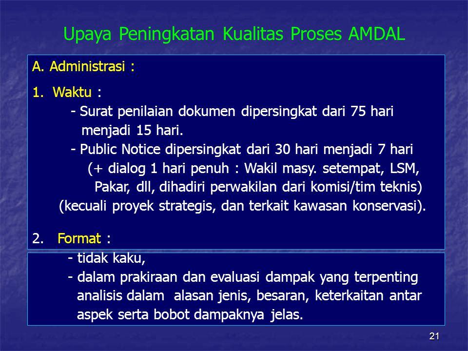 21 Upaya Peningkatan Kualitas Proses AMDAL - tidak kaku, - dalam prakiraan dan evaluasi dampak yang terpenting analisis dalam alasan jenis, besaran, keterkaitan antar aspek serta bobot dampaknya jelas.