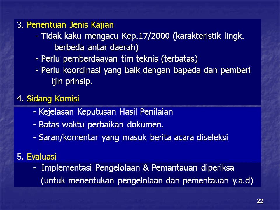 22 3.Penentuan Jenis Kajian - Tidak kaku mengacu Kep.17/2000 (karakteristik lingk.