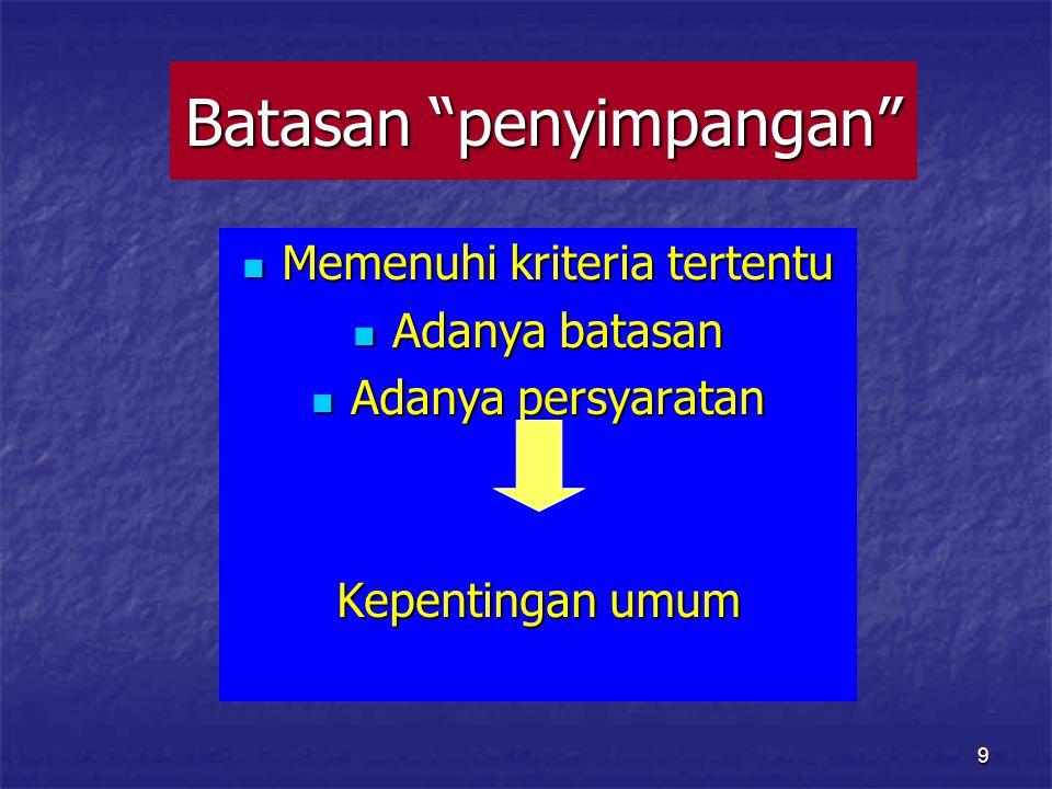 9 Batasan penyimpangan Memenuhi kriteria tertentu Memenuhi kriteria tertentu Adanya batasan Adanya batasan Adanya persyaratan Adanya persyaratan Kepentingan umum
