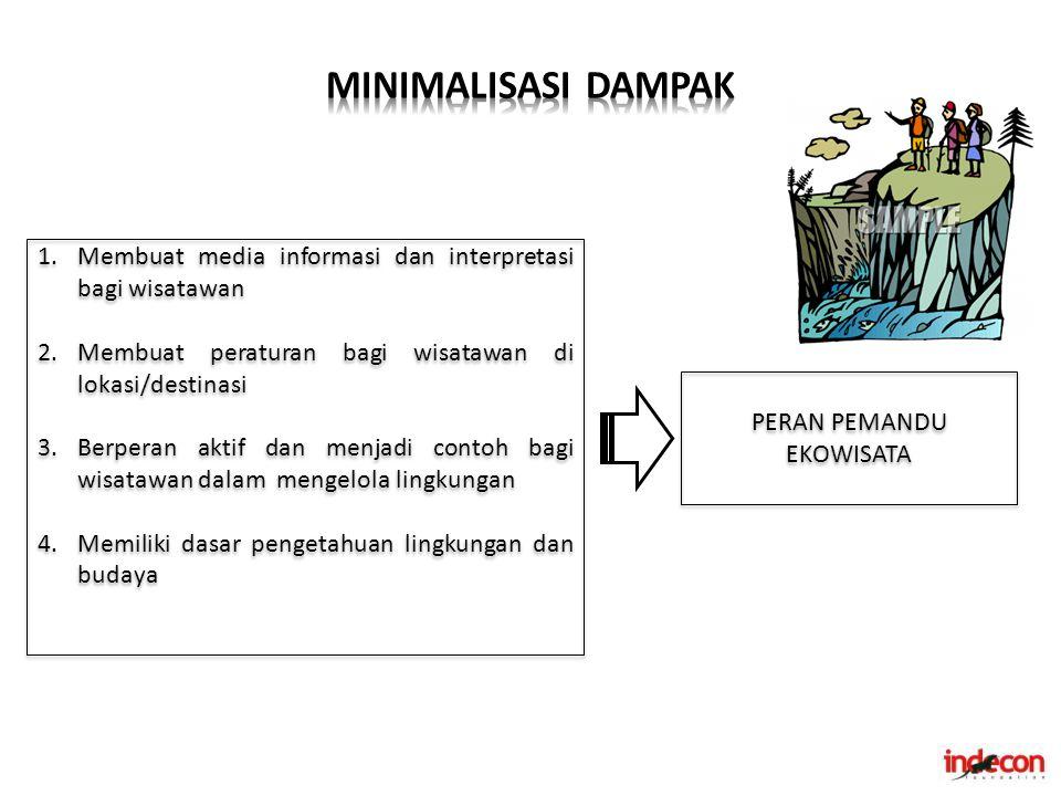 PERAN PEMANDU EKOWISATA 1.Membuat media informasi dan interpretasi bagi wisatawan 2.Membuat peraturan bagi wisatawan di lokasi/destinasi 3.Berperan ak