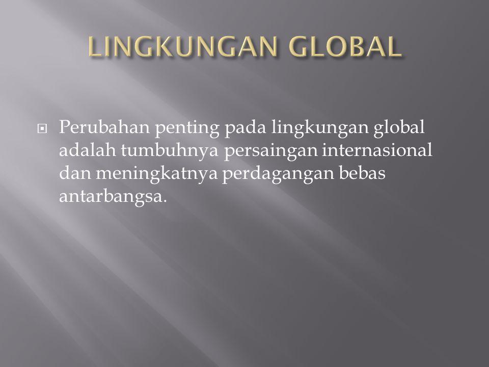  Perubahan penting pada lingkungan global adalah tumbuhnya persaingan internasional dan meningkatnya perdagangan bebas antarbangsa.