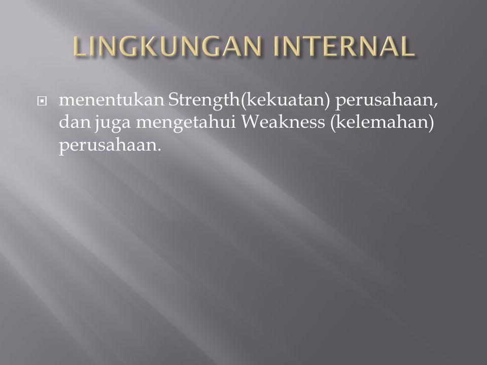  menentukan Strength(kekuatan) perusahaan, dan juga mengetahui Weakness (kelemahan) perusahaan.