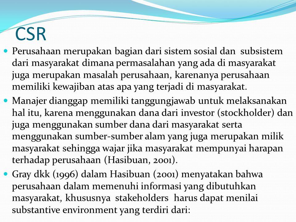 CSR Perusahaan merupakan bagian dari sistem sosial dan subsistem dari masyarakat dimana permasalahan yang ada di masyarakat juga merupakan masalah per