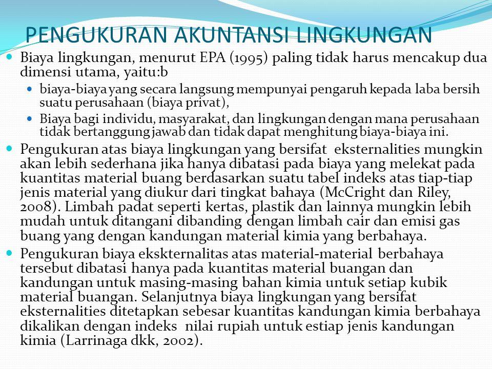 PENGUKURAN AKUNTANSI LINGKUNGAN Biaya lingkungan, menurut EPA (1995) paling tidak harus mencakup dua dimensi utama, yaitu:b biaya-biaya yang secara la